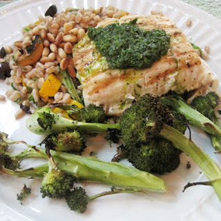 Seared Halibut with Verde Sauce.