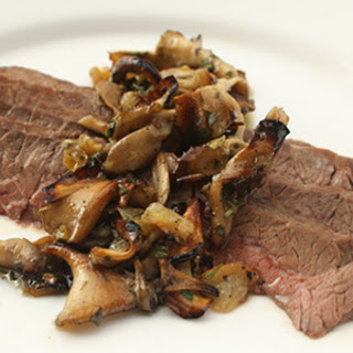 Pan-Roasted Hanger Steaks with Mushroom Condiment