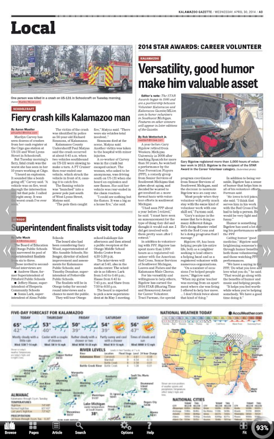 Kalamazoo Gazette- screenshot