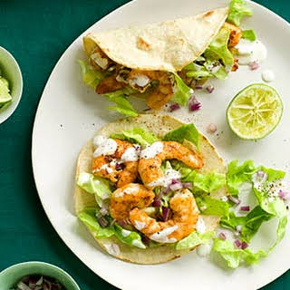 Shrimp Tacos with Lime Crema.