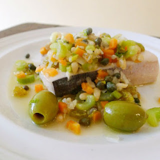The Art of Eating's Swordfish with Olives, Celery, Garlic, Vinegar, and Mint .