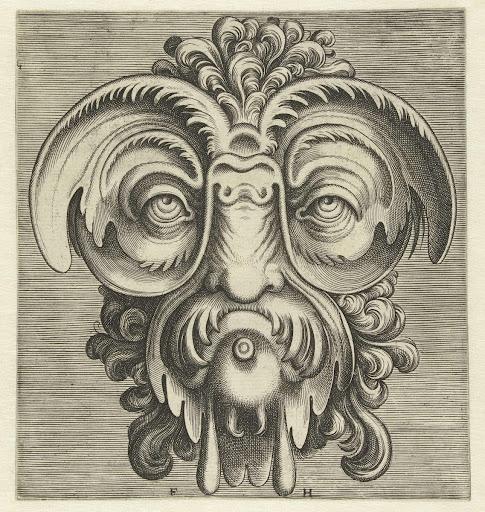Cartouche met citaat Aristoteles - Frans Huys, Hans