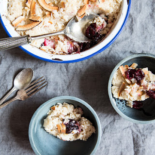 Coconut Rice Pudding With Roasted Cherries.