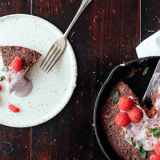 Skillet Chocolate Cornmeal Cake, for Two.