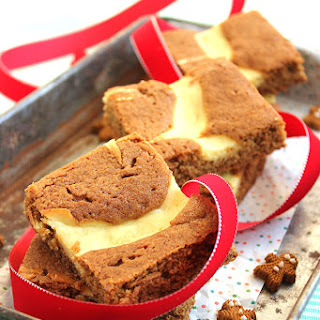Gingerbread Blondies with Meyer Lemon Cream Cheese Swirl