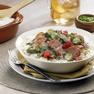 Andouille and Chicken Gumbo with Black-eyed Peas and Greens.