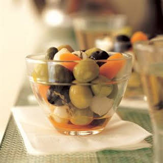 Spicy Marinated Olives with Pickled Vegetables and Garlic.
