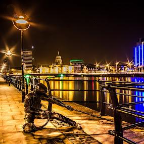 Linesman by Vaidotas Maneikis - City,  Street & Park  Street Scenes ( blue, orange. color, Urban, City, Lifestyle,  )