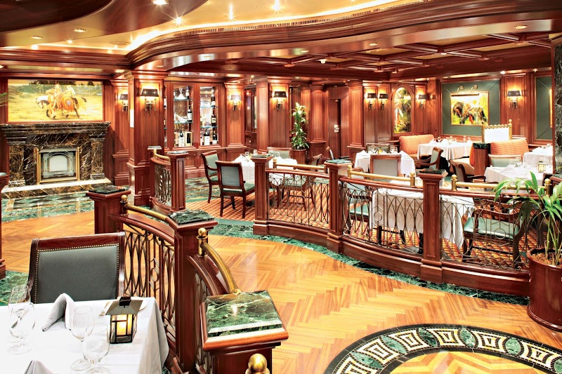 Look for upscale steak and seafood fare at Princess Cruises' Crown Grill Restaurant, voted one of the