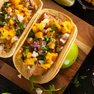 Fish Tacos with Mango Salsa.