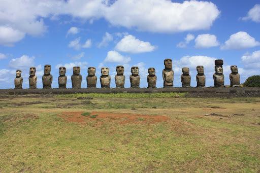 Easter-Island-Ahu-Tongariki - Statues at Ahu Tongariki on Chile's Easter Island in the Pacific.