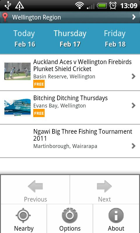 NZ Events - screenshot