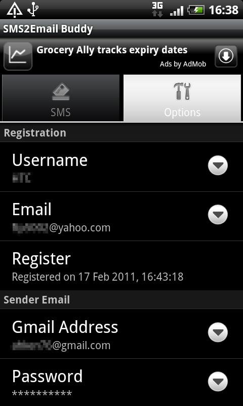 SMS2Email Buddy - SMS to Email - screenshot