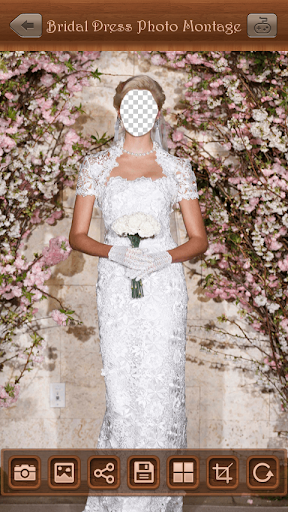 新娘禮服的照片蒙太奇。