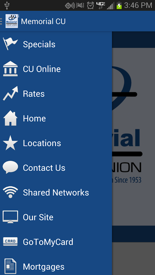 Memorial Credit Union Mobile- screenshot