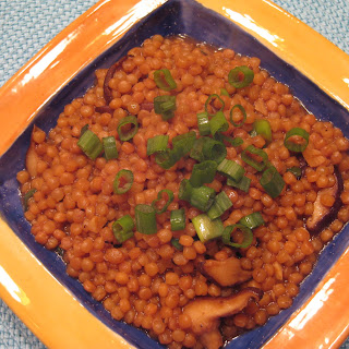 Israeli Couscous with Miso and Shiitakes.