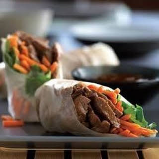 Beef Spring Rolls with Carrots and Cilantro.
