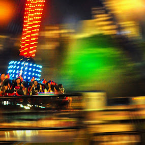 Speeding Up In the Night by Bastian AS - City,  Street & Park  Amusement Parks ( night photography, amusement park, speed, color, colors, landscape, portrait, object, filter forge )