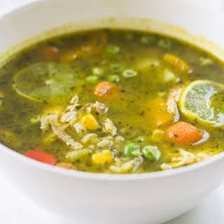 Peruvian Cilantro and Turkey Soup (Aguadito de Cava) #SundaySupper.