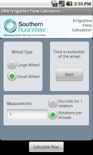 SRW Irrigation Flow Calculator- screenshot thumbnail