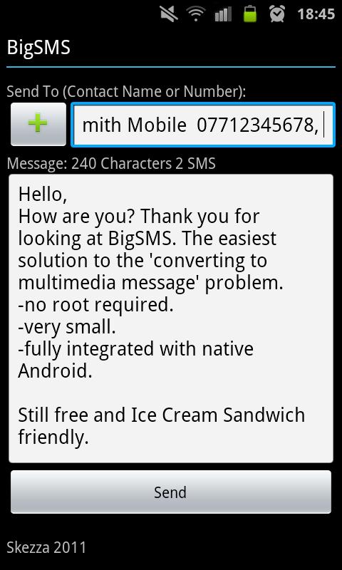 BigSMS (Send Long SMS) - screenshot