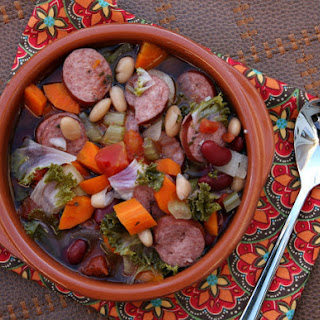 Slow- Cook Tuscan Sausage and Bean Soup