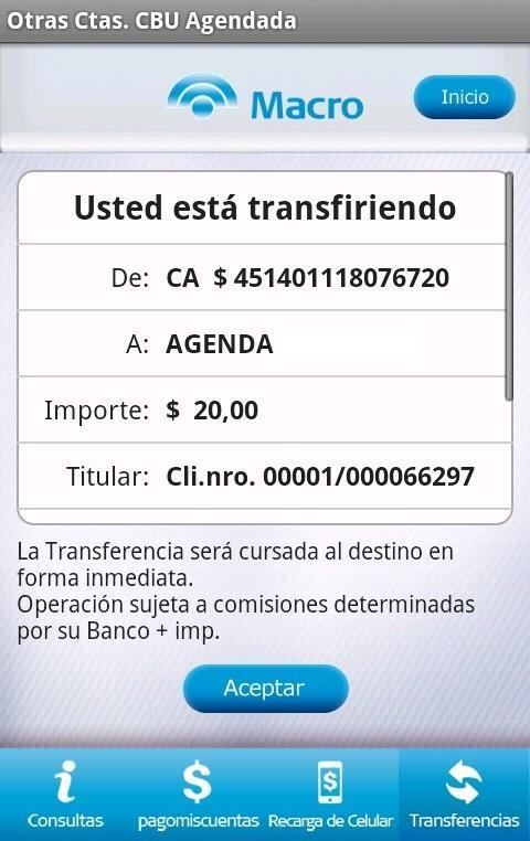 Macro Banca Móvil - screenshot