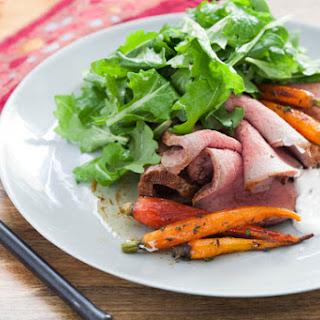 Roast Beef with Horseradish Sour Cream & Heirloom Carrots