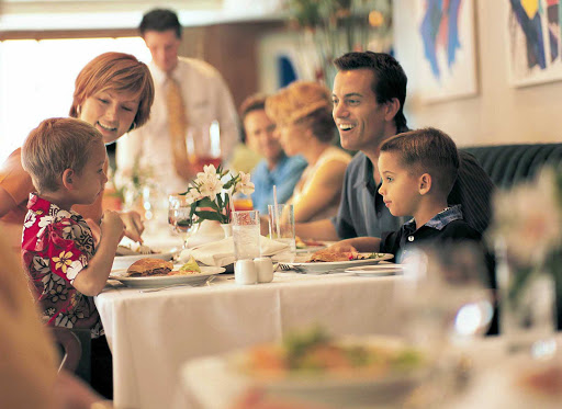 Norwegian-Cruise-Line-Aqua-Young-Family - Families can bring their young ones to Aqua, with its contemporary décor and wide selection of traditional dishes.   It's one of the two main dining rooms aboard Norwegian Star (where this was shot) and Norwegian Dawn.
