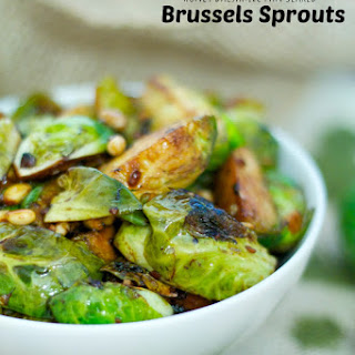 Honey Balsamic Pan Seared Brussels Sprouts.