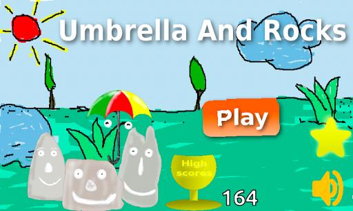 Umbrella And Rocks