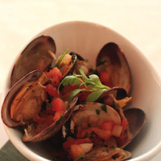 Smoked Clams With Tequila Sauce.