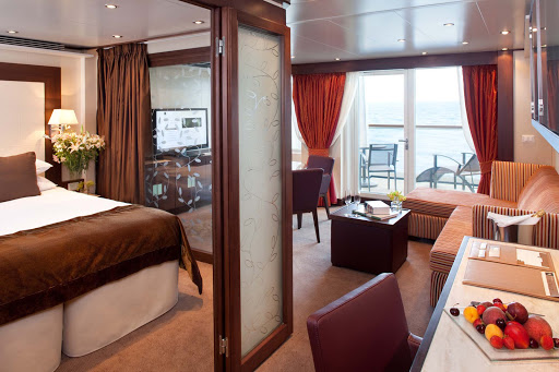 All Penthouse Suites on Seabourn Odyssey offer a dinning area, private veranda, fully stocked bar, and more.