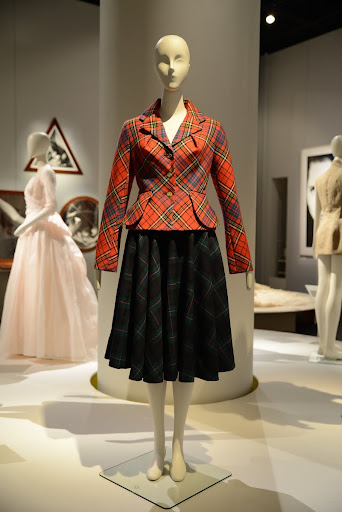 Installation view, tartan suit