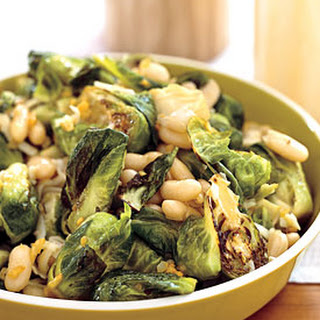Brussels Sprouts with White Beans and Pecorino.