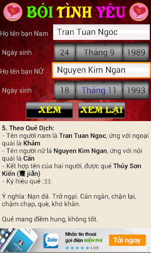 Boi tinh yeu,Xem tuoi vo chong screenshot