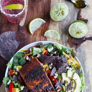 Chile Lime Salmon Fajita Salad with Cilantro Lime Vinaigrette..