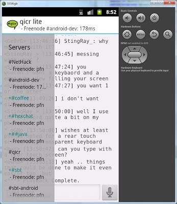 qicr lite IRC client beta - screenshot