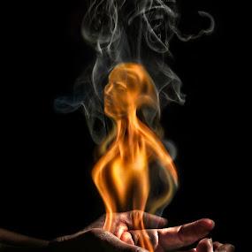 Hot Flame by Ingrid Krammer - Digital Art Abstract ( hand, face, girl, hot, ingridworks, burning, surreal, smoke, fire, flame,  )