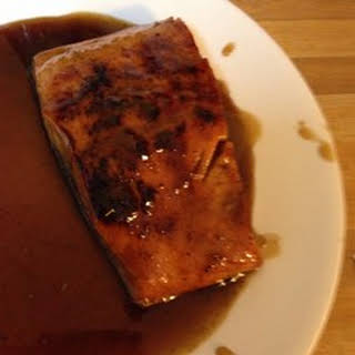Salmon With Brown Sugar and Bourbon Glaze.