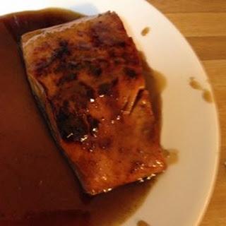 Salmon With Brown Sugar and Bourbon Glaze.