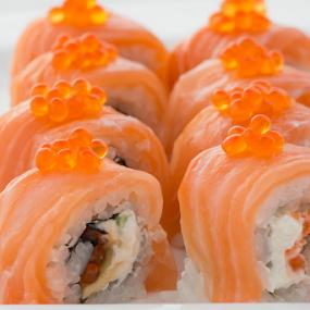 Salmon Sushi by Sabin Malisevschi - Food & Drink Plated Food ( plated, rice, red, caviar, food, sushi, salmon, manciuria )