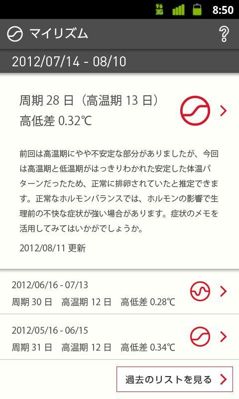 リズムノート:生理・排卵日予測の基礎体温表・体温計データ転送- screenshot