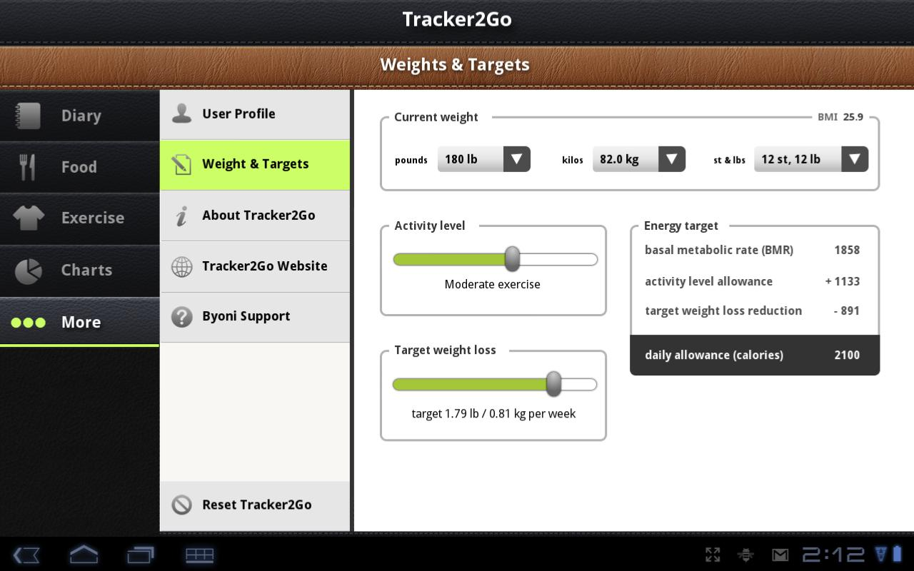 Diet Tracker 2 Go Pro - screenshot