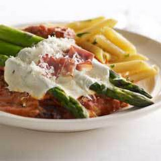 Chicken & Asparagus parmesan In Vodka Sauce.