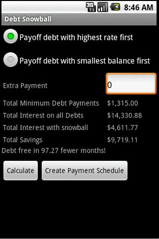 Debt Snowball- screenshot