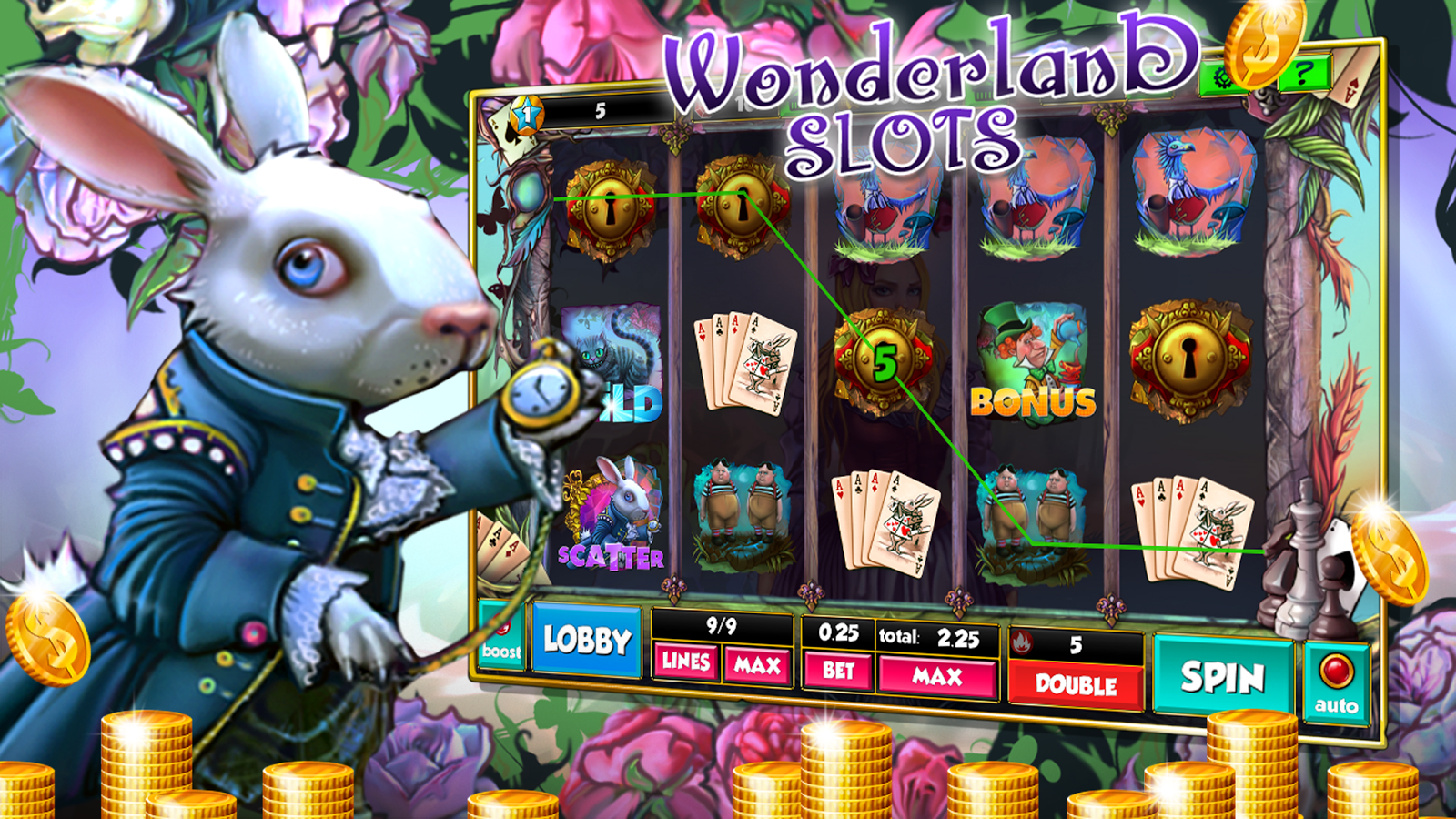 how to play alice in wonderland slots