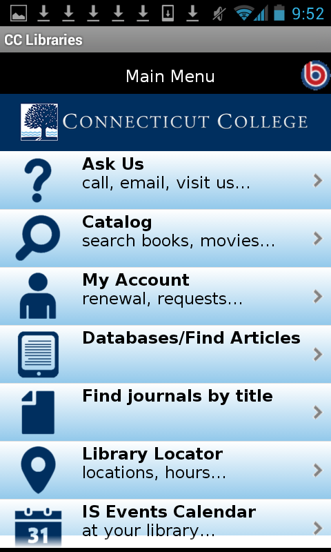 Connecticut College Libraries- screenshot