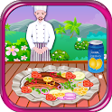 grilled salmon cooking games icon