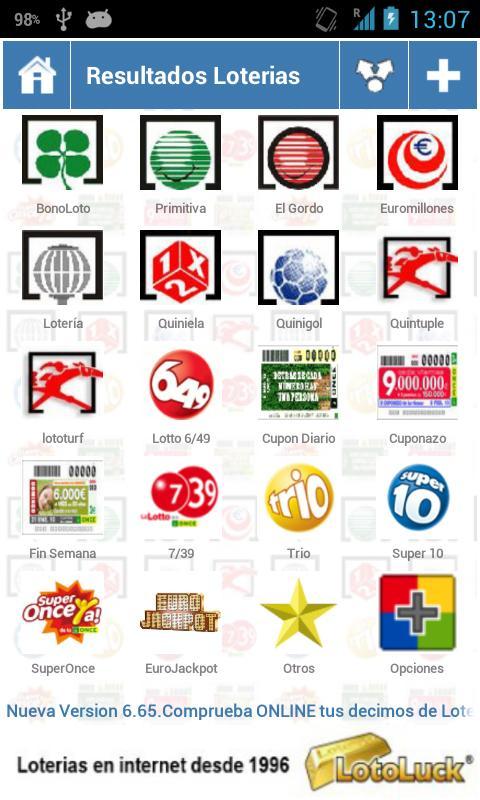 Resultados Loterias y Apuestas - screenshot